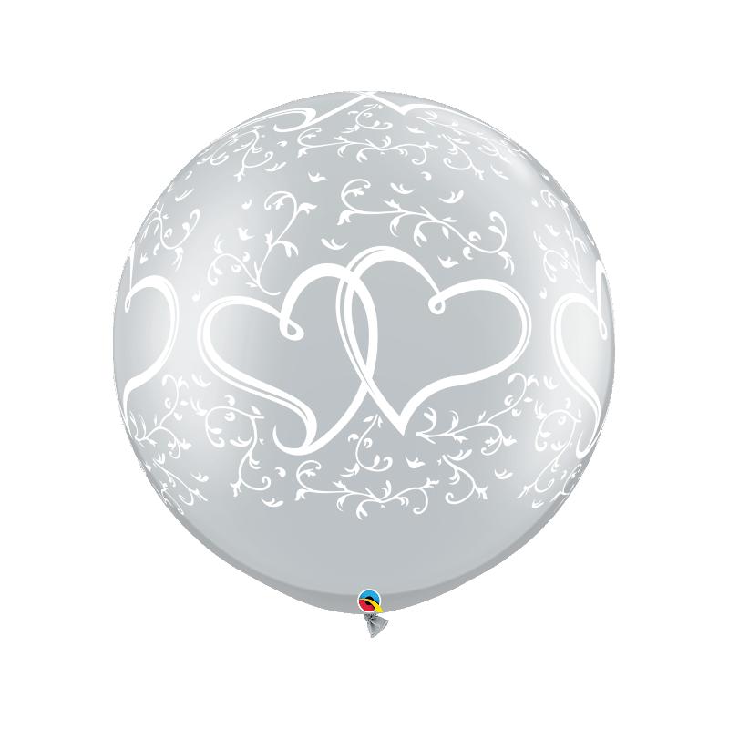 Balon 1M srebrny metaliczny w serca ślubny 2 szt.