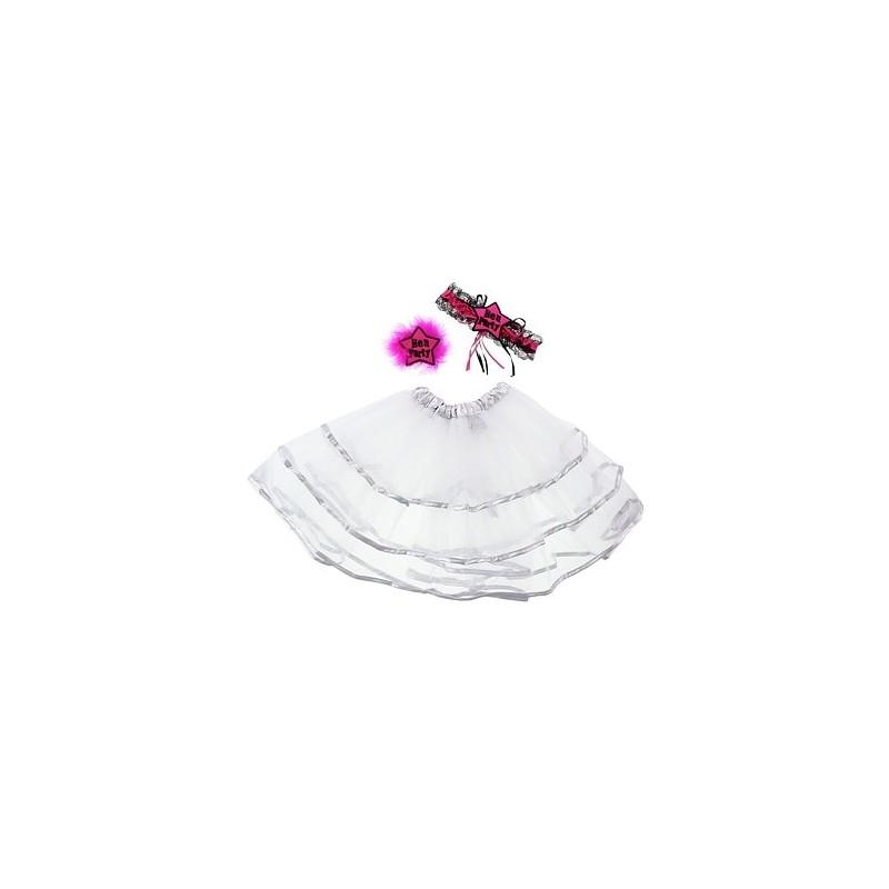 Zestaw na wieczór panieński (spódnica, podwiązka, broszka)