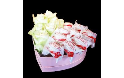 Flowerbox - białe róże -...