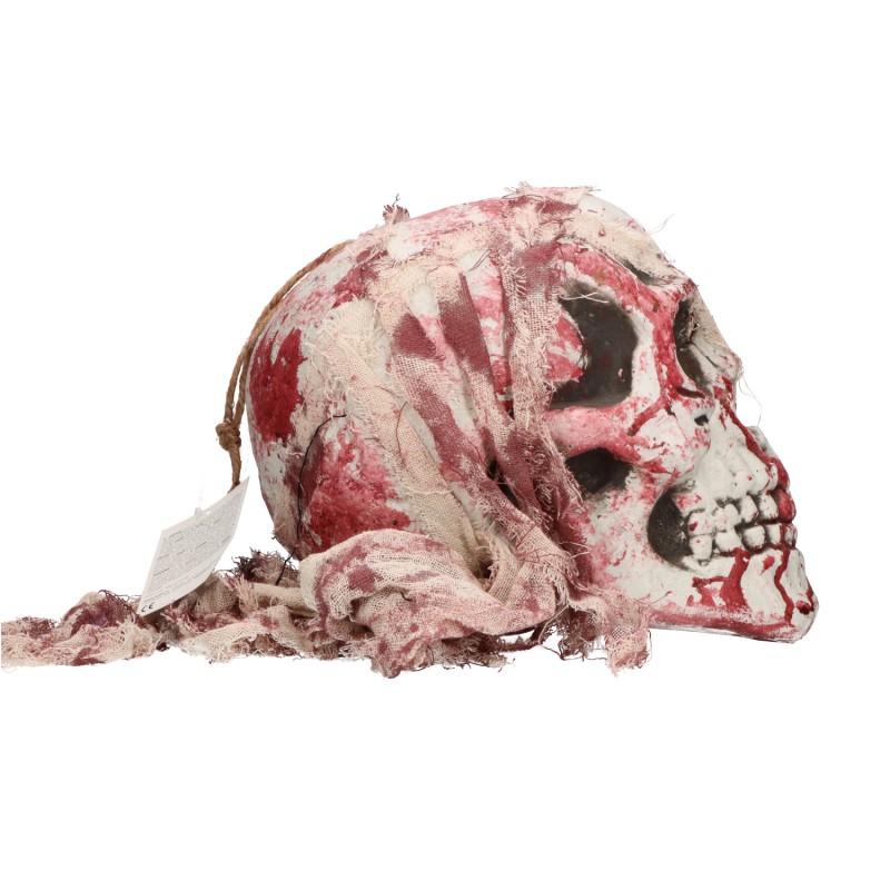 Czaszka halloweenowa z krwią i światłem 30cm