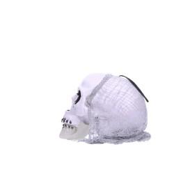 Czaszka z siatką dekoracja halloweenowa 20cm