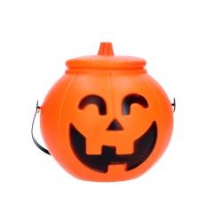 Wiaderko z pokrywką dynia pojemnik na cukierki słodycze na halloween 17x14cm