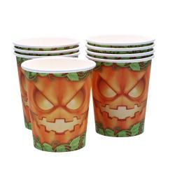 Pomarańczowe kubeczki jednorazowe z papieru na halloween 8sztuk