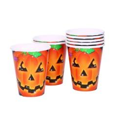 Jednorazowe kubki papierowe halloweenowa dynia 266ml 8 sztuk