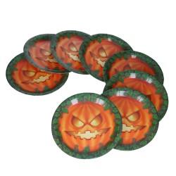 Jednorazowe talerze papierowe na halloween z dynią 23cm 8 sztuk
