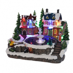 Miasteczko świąteczne led domki z fontanną 11 led 26x21x18cm