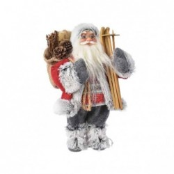 Mikołaj czerwono szary z nartami i workiem 30cm