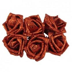 Róża z brokatem czerwona/różowa 6 szt.