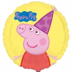 Balon foliowy 17 Świnka Peppa z czapeczką urodzinową
