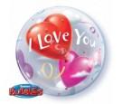 Balon 22 serce I Love You boubble