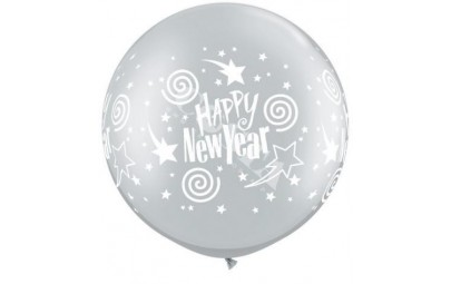 Balon 1m srebrny New Year...