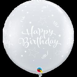 Balon 1M Happy Birthday przezroczysty w gwiazdki 2 szt.