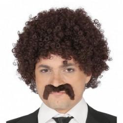 Peruka brązowe kręcone włosy i wąsy