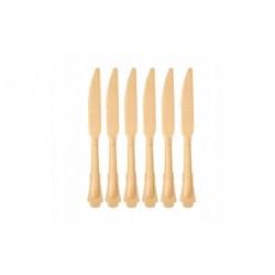 drewniane noże vintage sztućce jednorazowe 6szt