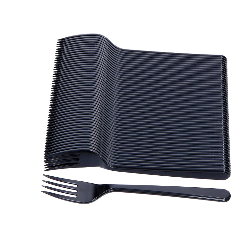Jednorazowe Widelce plastikowe czarne MOCNE 50szt