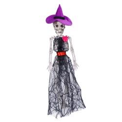 Szkielet kościotrup Wiedźma halloweenowy wiszący 32 cm