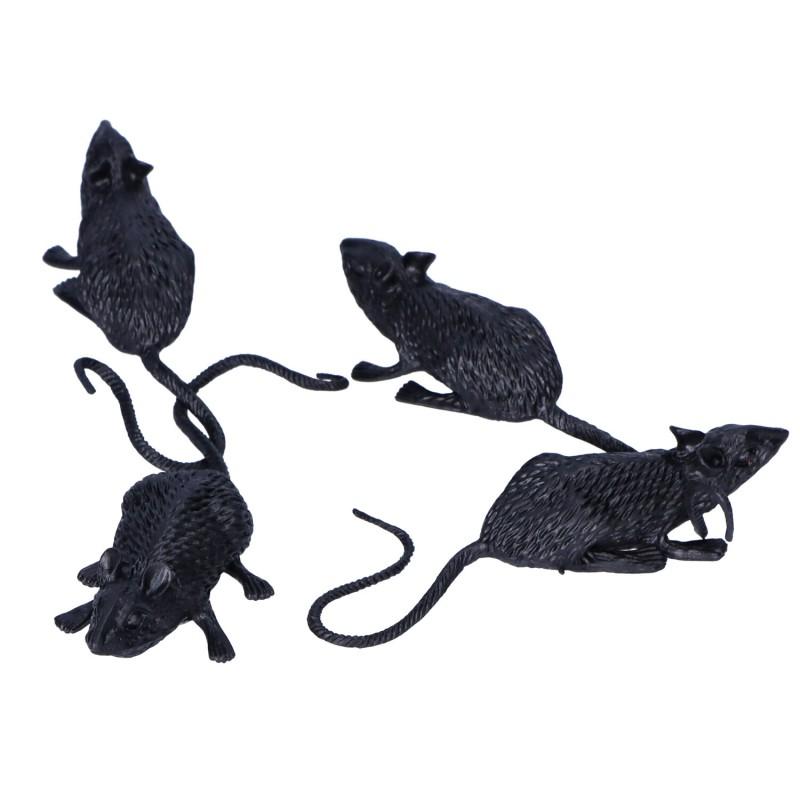 Szczury plastikowe zestaw sztucznych gryzoni na Halloween 6cm 4 sztuki