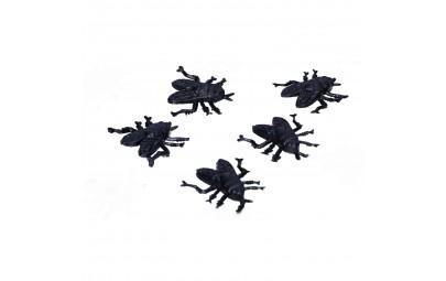 Sztuczne muchy plastikowe czarne dekoracje do pajęczyn 2cm 24 sztuk