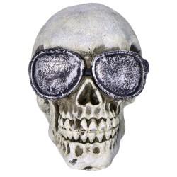 Czaszka halloweenowa z żywicy z okularami 11cm