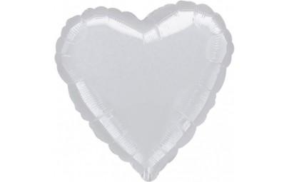 Balon foliowy 17 serce srebrne