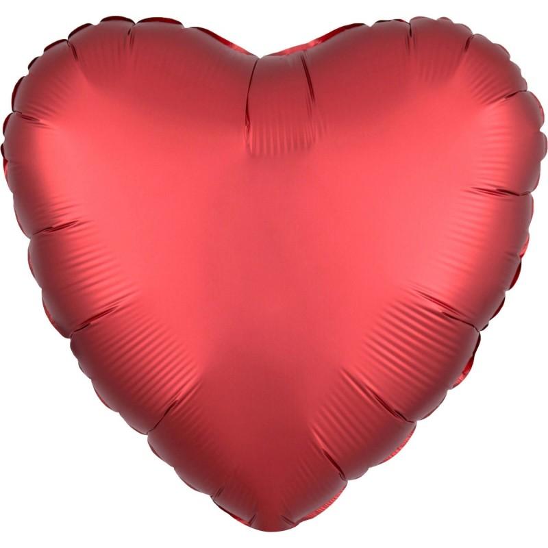 Balon foliowy 17 satynowy serce czerwone