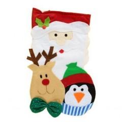 Skarpeta świąteczna mikołaj z reniferem 34x20 cm