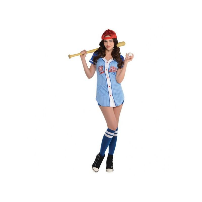Strój dla dorosłych Kobieta Baseball roz.S (tunika, czapka, skarpetki, szorty)