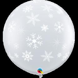 Balon 1M przezroczysty w płatki śniegu 2 szt.