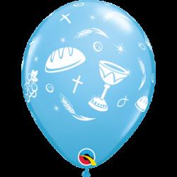 Balon 11 komunijny niebieski 25 szt.