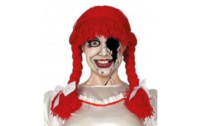 Czerwona peruka warkocze z...