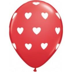 Balon 11 czerwony w białe...