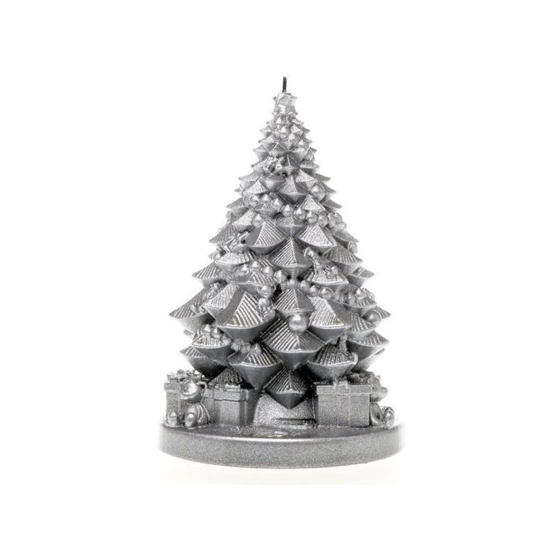 Świeca choinka z prezentami srebrna 160x110x110mm