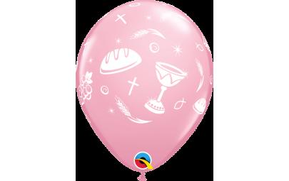 Balon 11 komunijny różowy