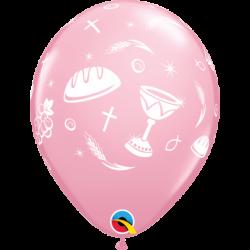 Balon 11 komunijny różowy 25 szt.