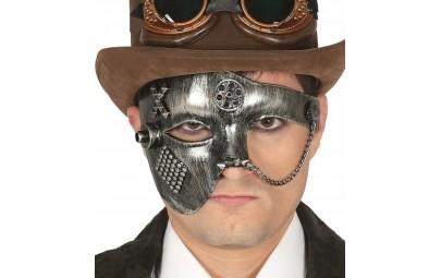 Maska punk metalowa srebrna