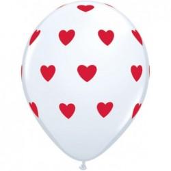 Balon 11 biały w czerwone...