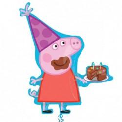 Balon foliowy 33 Świnka Peppa z tortem