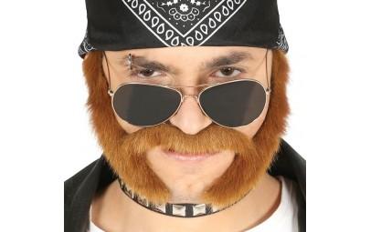Wąsy z bokobrodami brązowe