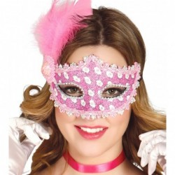 Maska z piórami różowa