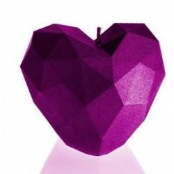 Świeca serce różowa z połyskiem 78x80x90mm