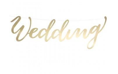 Baner Wedding złoty 16,5x45cm