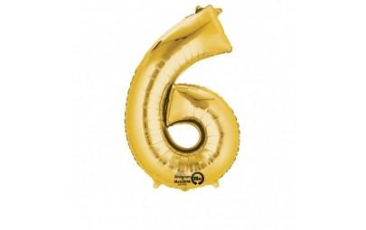Balon foliowy 16 cyfra 6 złota