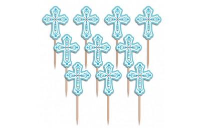 Pikery komunijne 6,3cm niebieskie