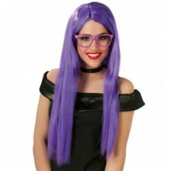 Peruka długie włosy fioletowe