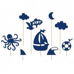 Toppery na tort morskie łódka ośmiornica chmurki Ahoy 9,5x22,5cm 9sztuk