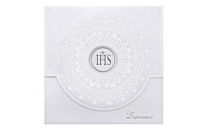 Zaproszenie komunijne z ornamentem białym 10 szt.