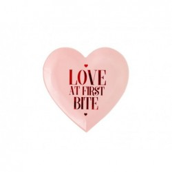 "Talerz papierowy serce ""Love At First Bite"" 18,5cm 6 szt."