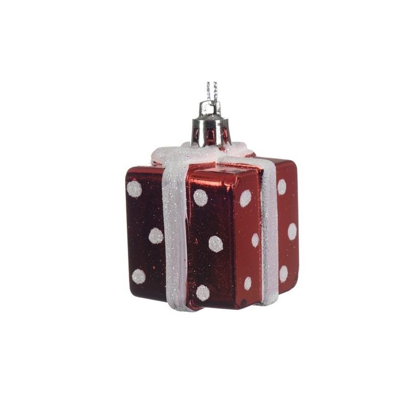 Bombka prezent czerwono-biały 3,5x3,5x5cm