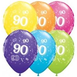 Balon 11 90 urodziny 6 szt.