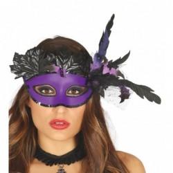 Maska z piórami i liśćmi...